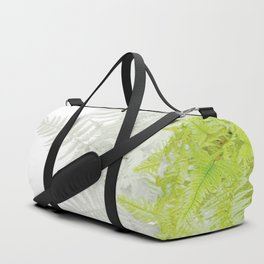 PALE GREEN & GREY ABSTRACT WOODLAND FERNS ART Duffle Bag