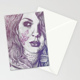Wake: Red & Blue | maple leaves tattoo woman portrait Stationery Cards