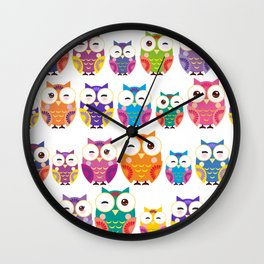 pattern - bright colorful owls on white background Wall Clock