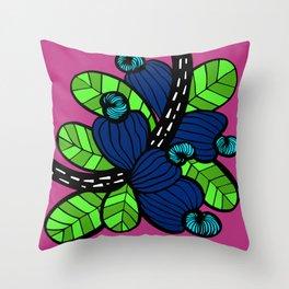 Pink & Blue Cashew Apple Throw Pillow