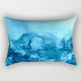 INTO ETERNITY, TURQUOISE Colorful Aqua Blue Watercolor Painting Abstract Art Floral Landscape Nature Rectangular Pillow