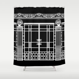 ART DECO, ART NOUVEAU IRONWORK: White on Black Shower Curtain