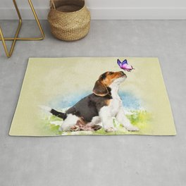 Beagle puppy with butterfly Rug
