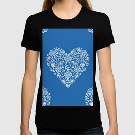 Azure Strong Blue Heart Lace Flowers T-shirt