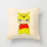 pooh Throw Pillows featuring A Boy - Winnie-the-Pooh by Christophe Chiozzi