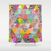 sunset Shower Curtains featuring Lost in ▲ by Bianca Green