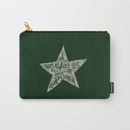 Oh holy night- Merry christmas- Illustration Star with Typography on festive green Carry-All Pouch