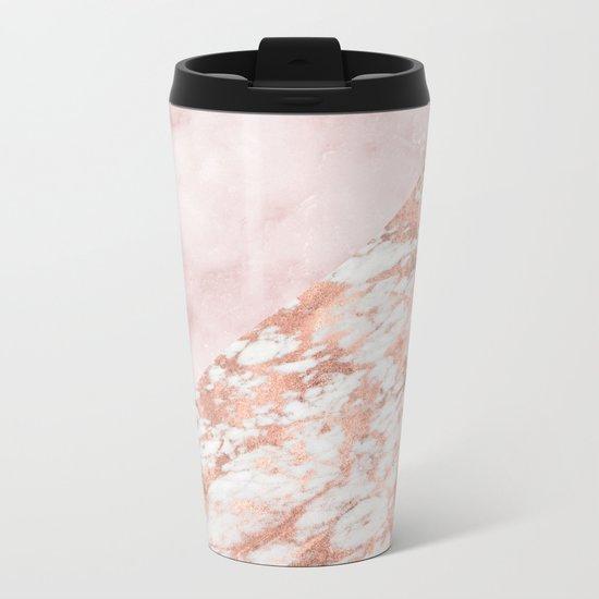 Rose gold & pinks marble Metal Travel Mug