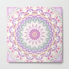 Calypso Mandala in Pastel Pink, Purple, Green, and White Metal Print