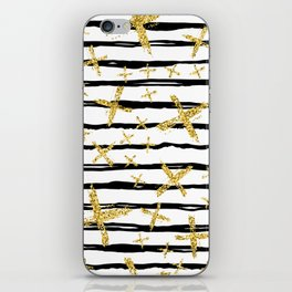 Pattern with brush stripes and gold glitter cross iPhone Skin