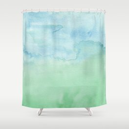 Watercolor Duo Blue Green Abstract Shower Curtain