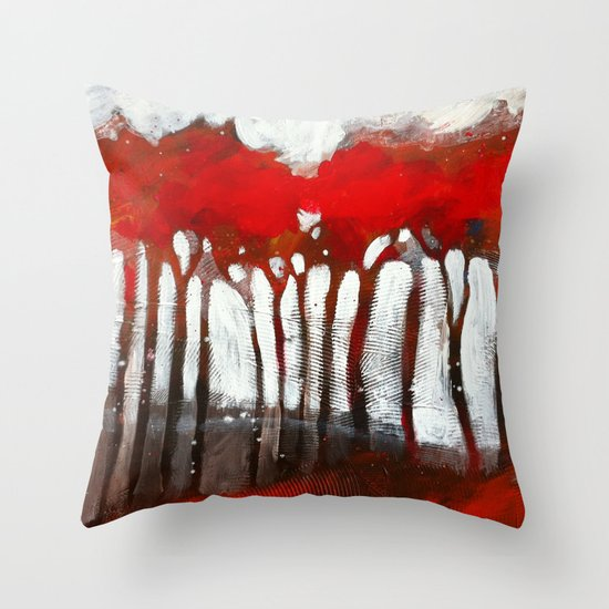 Red trees Throw Pillow