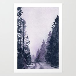 Misty forest road Art Print