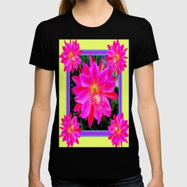 Colorful Fuchsia-Red,Pink Orchid Cacti Yellow Art T-shirt