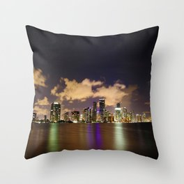 Downtown Miami Night Throw Pillow