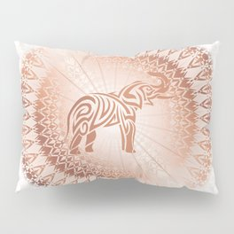 Rose Gold Elephant Mandala Pillow Sham