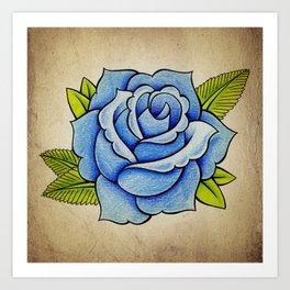 Blue Rose - Tattoo Artwork Art Print