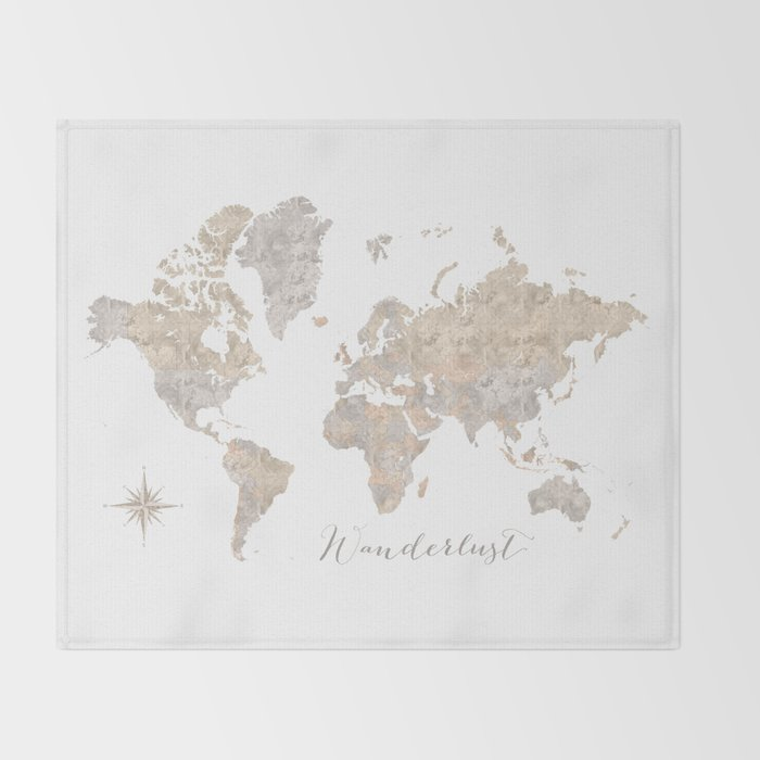 Wanderlust Watercolor World Map With Compass Rose Throw Blanket By