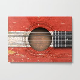Old Vintage Acoustic Guitar with Austrian Flag Metal Print
