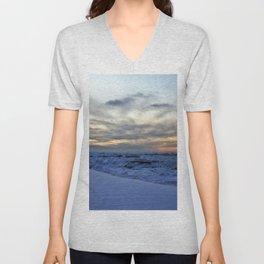 Icy Sea at Sunset Unisex V-Neck
