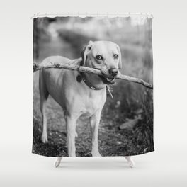 Fetch (Black and White) Shower Curtain