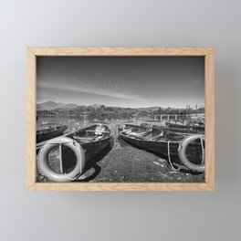 Rowing boats on shore of Lake Derewentwater in English Lake District Framed Mini Art Print