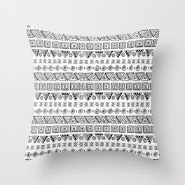 Black & White Hand Drawn Pattern Throw Pillow