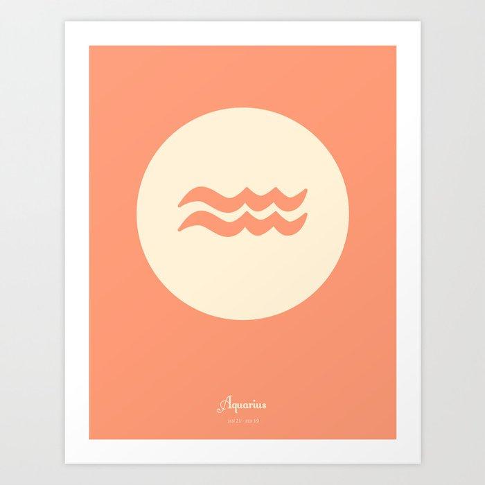 Aquarius Symbol Pink Art Print By Naturesgardendesign Society6