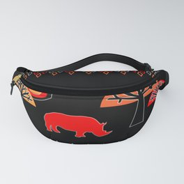 African Rhino (Hot colors) - by Kara Peters Fanny Pack