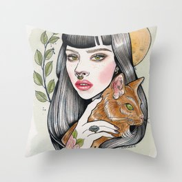 The Girl and Her Cat Throw Pillow