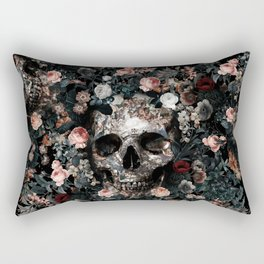 Skull and Floral pattern Rectangular Pillow