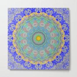 Delicate Blue Lace Mandala Metal Print