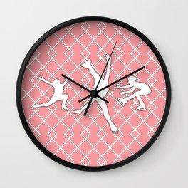Pink Girls Figure Skating Wall Clock
