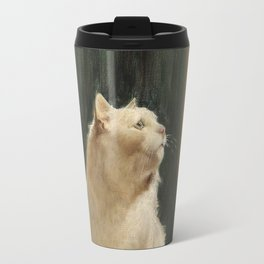White Cat and Two Brimstone Butterflies by Arthur Heyer Travel Mug