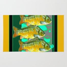 MODERN ART GREEN & OCHER DECORATIVE THREE FISH Rug