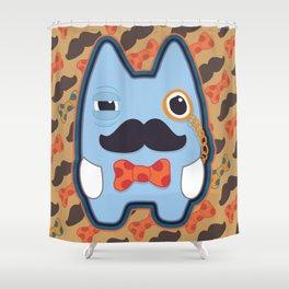 Fancy Blue Moustache Monster Shower Curtain