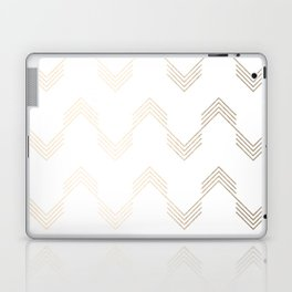 Simply Deconstructed Chevron White Gold Sands on White Laptop & iPad Skin