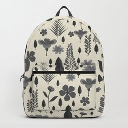 Vintage chic ivory black gray tropical floral Backpack