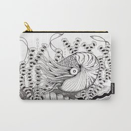 Zentangle Nautilus in the Ocean Illustration Carry-All Pouch