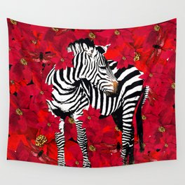 ZEBRA AND FLOWERS Wall Tapestry