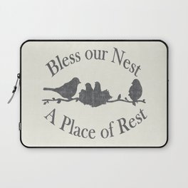 Bless our Nest A Place of Rest Birds on a Branch Shabby Chic Laptop Sleeve