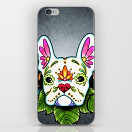 French Bulldog in White - Day of the Dead Sugar Skull Dog iPhone Skin