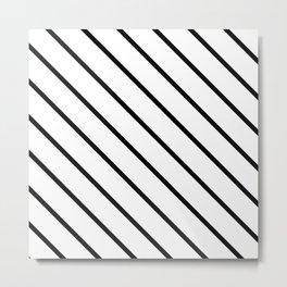 Diagonal Lines (Black & White Pattern) Metal Print