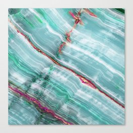 Jade Mint Marble Paint Abstract  Canvas Print