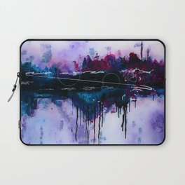 Dawn, pink and fushia black and blue acrylic abstract artwork Laptop Sleeve