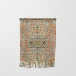 Vintage Woven Coral and Blue Kilim Wall Hanging