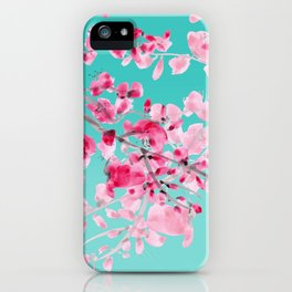 Cherry Blossom Aqua iPhone Case