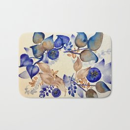 Blueberry Gold Leaf Wreath Bath Mat