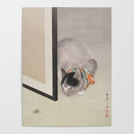 Cat Watching a Spider Japanese Painting Poster