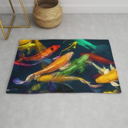 Colorful Brocaded Koi Fish Roger Williams Botanical Garden Providence, Rhode Island Painting Rug